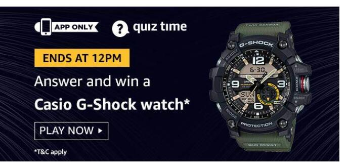 amazon quiz 14 august Casio G-shock Watch